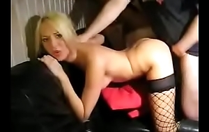 Sexy blonde fucks on couch