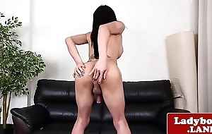 Solo ladyboy wanking and stroking her cock