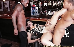 IR spitroasted MILF takes on two black cocks