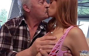 Old Man Falls Concerning Love With Beautiful Young Redhead and Fucks Her Pussy