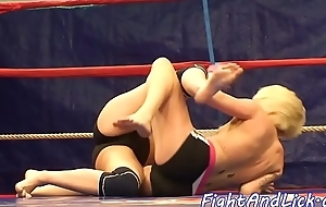 Inked dyke wrestles and gets pussylicked