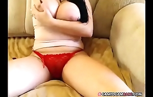 Hot woman with big tits rubbing her pussy in panties when chatting