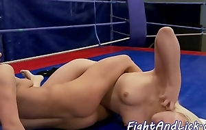 Wrestling lesbian pussylicked passionately