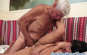 Young euro drilled by pensioners hard cock