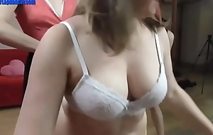 Skinny and chubby whore dancing