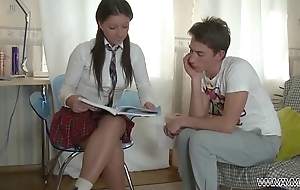 Schoolgirl learn well &amp_ get punished ass with big cock