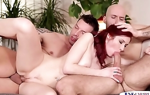Ass banged jocks spitroasting a redhead babe