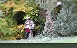 Vanessa in Furs - Outdoor Flashing her pussy in a park - Milf Mature Cougar