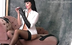 Busty babe nylons leather gloves fetish