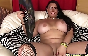 Bigboobs lingerie tranny stroking her cock