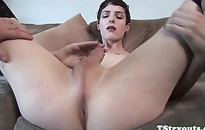Solo ts babe wanking off during sex audition